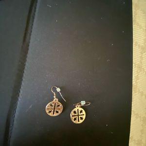 Golden dangle patterned earrings